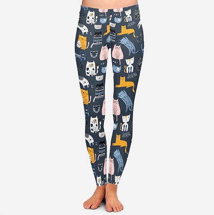 Cartoon Cat Leggings for Women