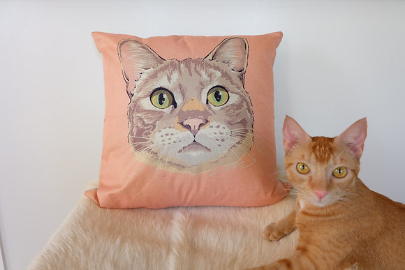 Light Orange Cat Cushion Cover