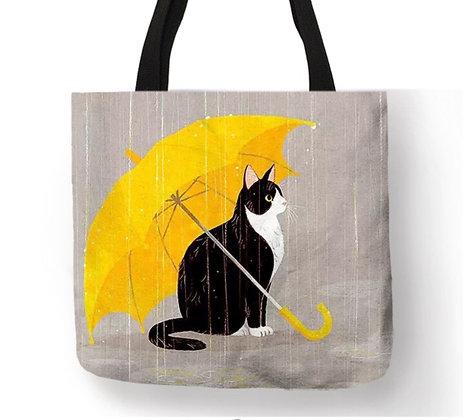Umbrella Cat Tote Bag