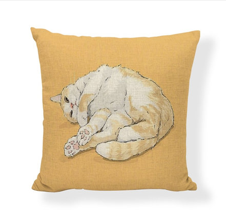 Yellow Relaxing Cat Cushion Cover