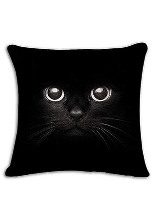 Black Cat Face Cushion Cover