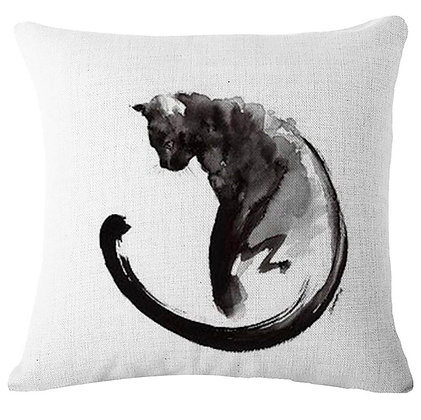 Ink Painting Cat Cushion Cover 5