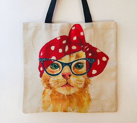 Red Ribbon Cat Tote Bag