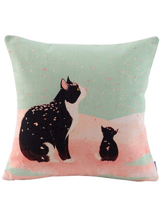 Cherry Blossom Cats Cushion Cover