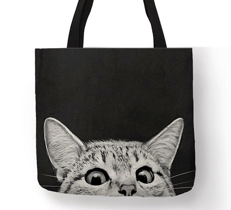 Peeping Cat Tote Bag
