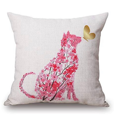 Pink Cat Cushion Cover