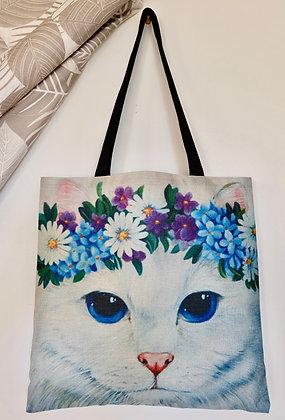 Blue Flower Cat Tote Bag