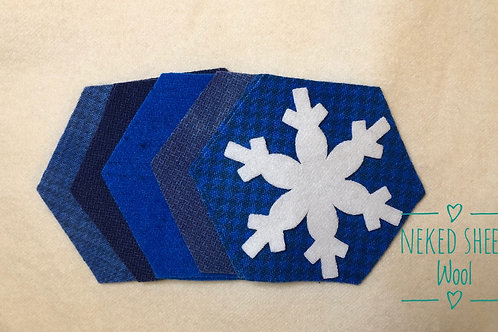 Large Hexie Pre-Cut with snowflake