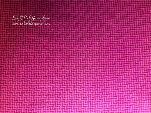 Fat Quarter Hand Dyed Wool  - Bright Pink Herringbone