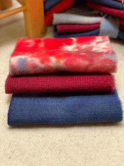Hand Dyed Wool Roll - 4th of July DarkBlue/Dark Red/Multi