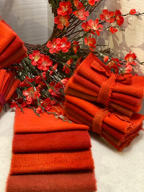 Hand Dyed Wool Roll - Redish