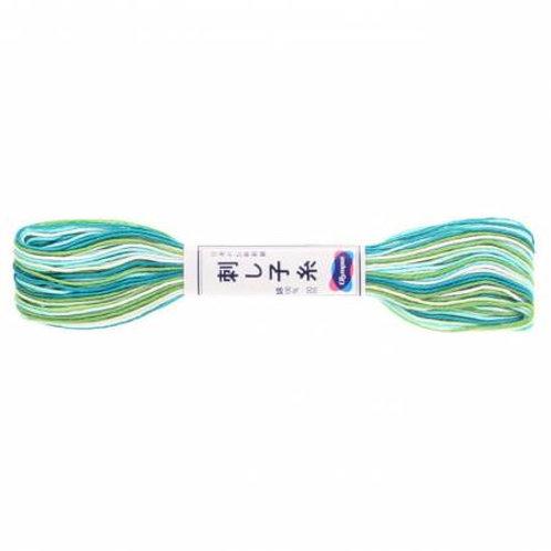 Olympus Sashiko Thread - Varigated Green/Blue/White