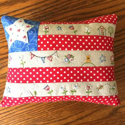 Bareroots Little Flag Pillow Hand Embroidery Kit