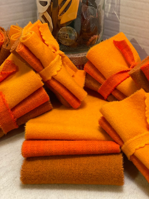 Hand Dyed Wool Roll - 3 Orangies