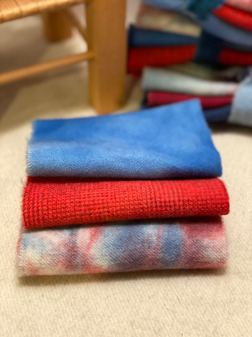 Hand Dyed Wool Roll - 4th of July Light Blue/Bright Red/Multi