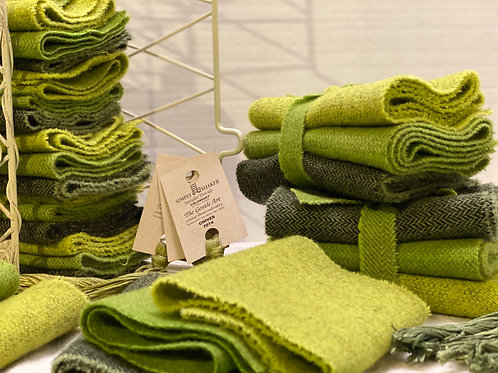 Hand Dyed Wool Roll - 3 Greens