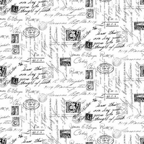 Timeless Treasures Fabric - Inked Fancy - White