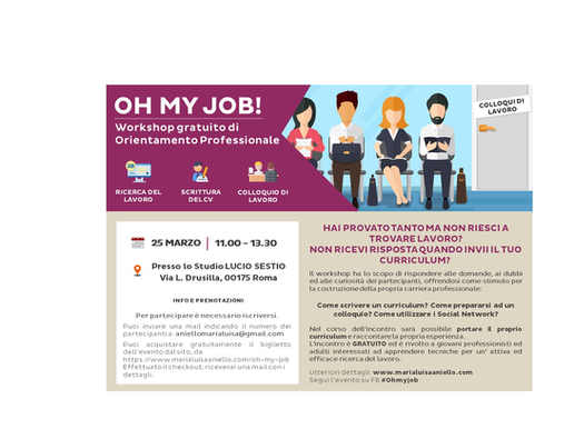 Workshop di orientamento professionale Oh my Job!