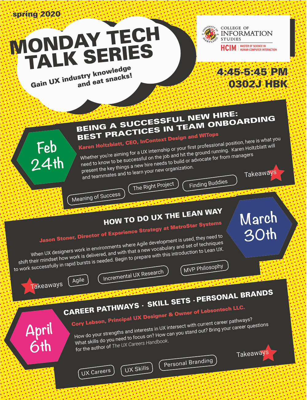 monday tech talk series poster featuring events