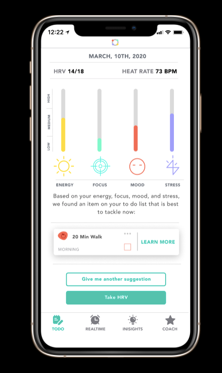 complete application showing heart rate analysis