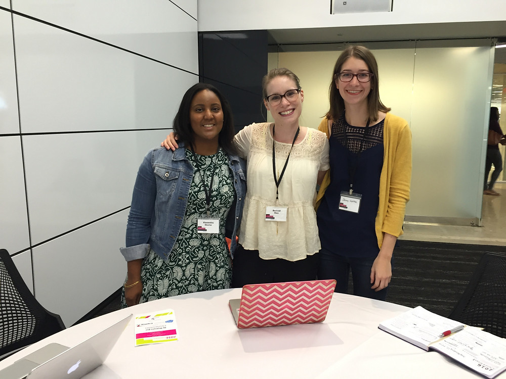 Alex, Rachael, and Jenny at CodeHer Conference