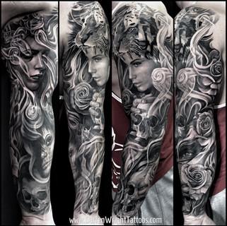 sleeve-tattoo-darren-wright-tiger-skull