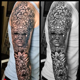 masquerade-mask-tattoo-venetian-mask-sleeve