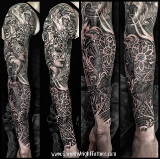 gothic-arches-venetian-mask-crow-tattoo