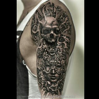 skull-venetian-mask-half-sleeve-tattoo