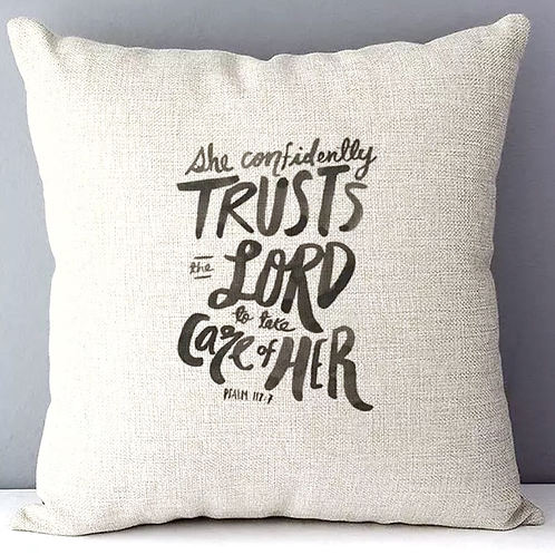 She Trusts the Lord Cushion