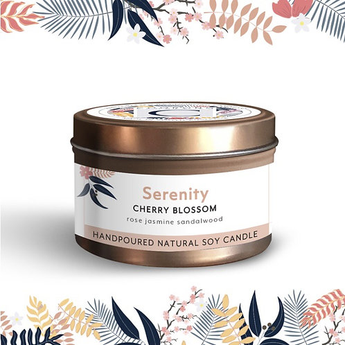 'Serenity' Cherry Blossom Soy Travel Candle