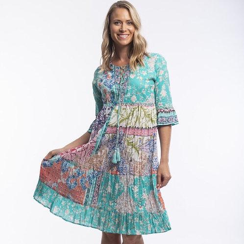 Madeira Dress Midi Panelled 3/4 Sleeve