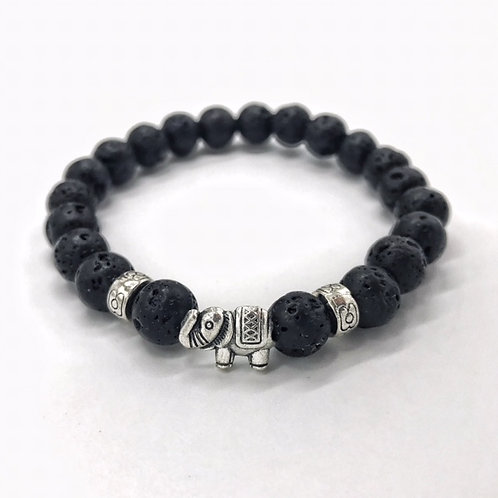 Lava Bead Bracelet with Elephant
