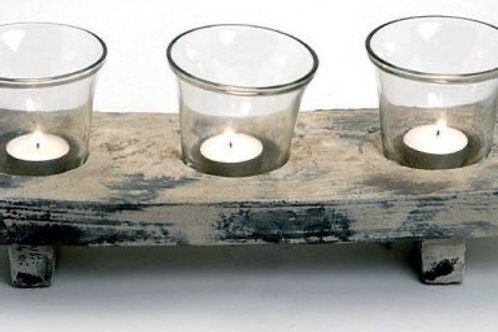 3 Pce Glass Oriental Candle Holder