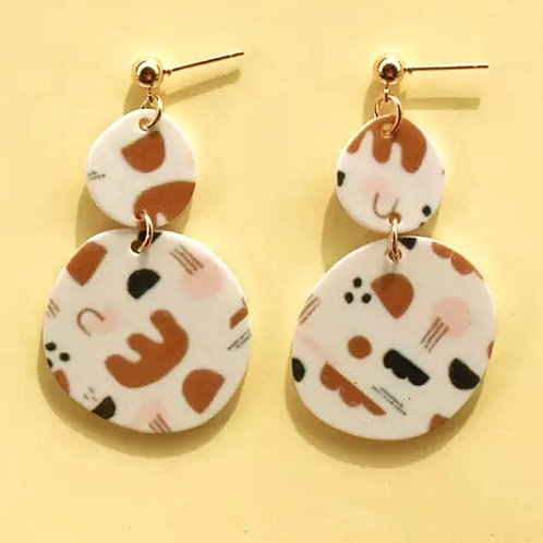 Acrylic  Earrings Patterned Circles