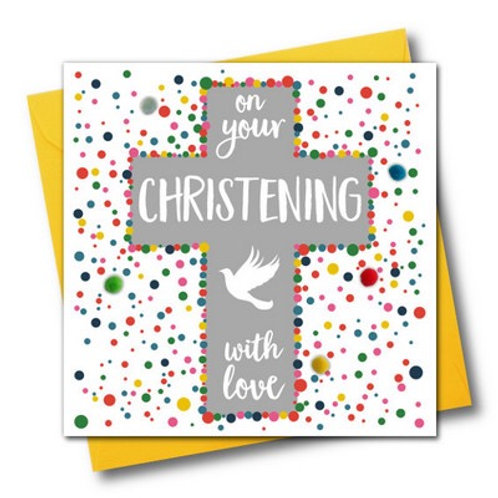 Pom Pom Card - Christening with love