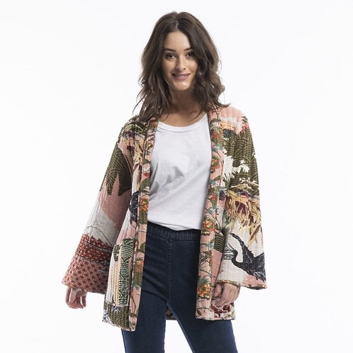Lourdes Kimono Pink Reversible Jacket by Orientique