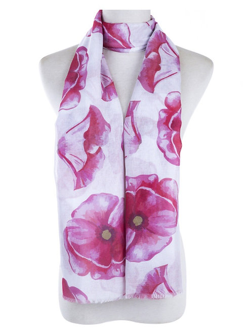 Scarf - Pink Poppies