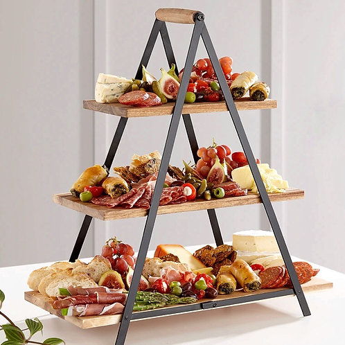 Serve and Share Acacia Wood Serving Tower