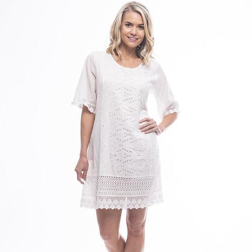 Essentials Broderie Dress 3/4 Slv