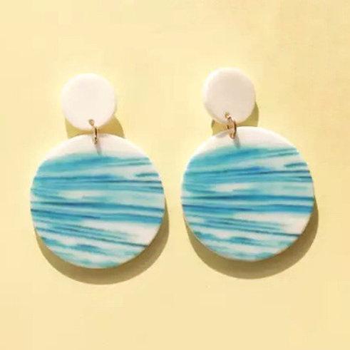 Acrylic  Earrings Ocean Circles