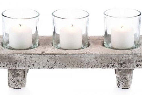 3 Pce Glass Modern Candle Holder