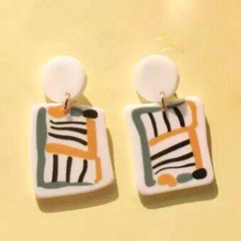 Acrylic  Earrings Striped Rectangles