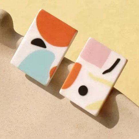 Acrylic  Earrings Geometric Rectangles