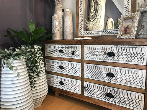 Vintage Distressed Wood and Iron Six Drawer Dresser
