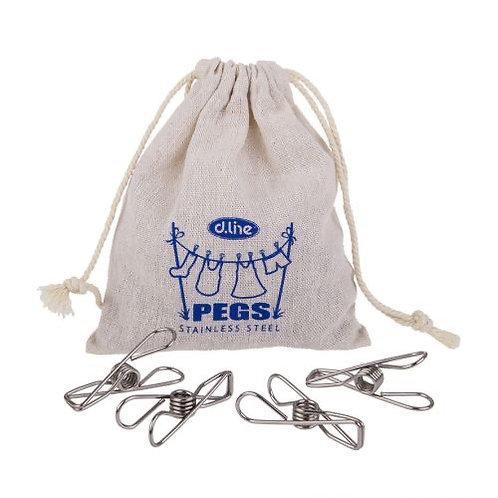 D.line Stainless Steel Wire Pegs in Hemp Bag Set of 30 - Medium