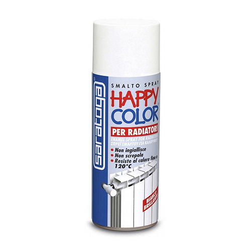 HAPPY COLOR RADIATORI BIANCO BRILLANTE VERNICE SPRAY 400 ML SARATOGA