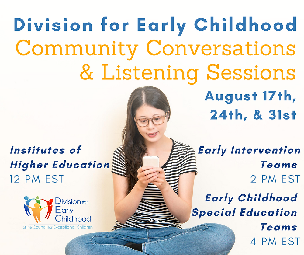 Division for Early Childhood Community Conversations & Listening Sessions - An image of a woman taking a video call on her phone.