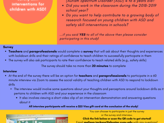 Call for Survey Participants: New Research about Safety Skill Interventions for Children with ASD