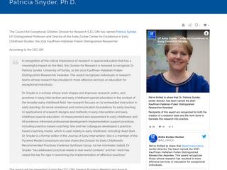 DEC Member Dr. Patricia Snyder Receives the 2021 Distinguished Researcher Award